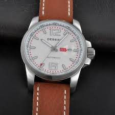 <b>DEBERT 44mm</b> Leather white Dial Date Japan miyota Automatic ...