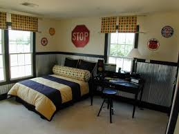 Small Picture Boys room I love the corrugated metal wall treatment and check