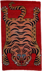 19th century tibetan tiger rug wool and cotton purchase 1976 charles w engelhard