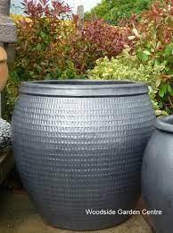 glazed pot metal collar planter