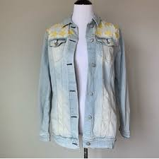 Lularoe Jaxon Light Wash Edition Star Denim Jacket