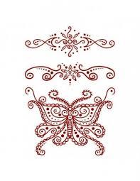 červený Motýl A Další Motivy Henna Nalepovací Tetování