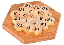 Wooden Math Games Classic Brain Teaser Wooden Hexagon Digital Puzzle Sum Equal to 100 8