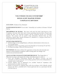 Cover Letter For Auditor Internship Adriangatton Com