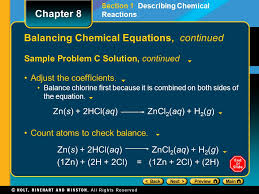 34 balancing chemical equations continued sample problem