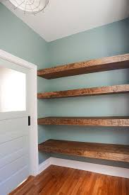 Pantry DIY Floating Wood Shelves In The Workshop! // Via Yellow Brick Home.  Cute Idea For A Mud/laundry Room.
