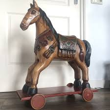 wooden carousel horse in indian style 20th century