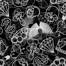Fototapeta Tetování Bezešvé Vzor Lebka A Boxery Rose A Srdce S šípem