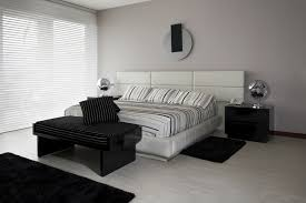black and white modern furniture. White And Black Bedroom With Floor, Head-board Furniture Modern