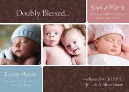 Boy Or Girl Baby Announcement Doubly Blessed Twins Birth Announcement Baby Girl Baby Boy