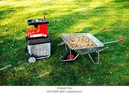 garden waste shredder stock photos and