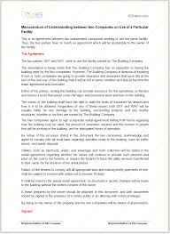 Memorandum Of Understanding (For Particular Facility)
