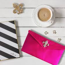 Envelope Design Handmade Beautiful Fuchsia Pink Fleur De Lis Silk Envelope