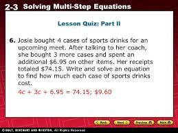 2 3 solving multi step equations lesson quiz part ll 6