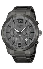 pulsar swarovski crystal watches pulsar mens chronograph stainless watch gray bracelet gray dial pt3281