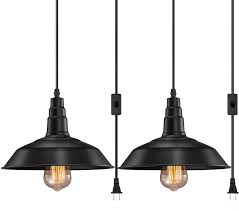 Vintage Plug In Lights Fadimikoo Plug In Pendant Light E26 E27 Industrial Hanging Pendant Lights Vintage Hanging Light Fixture With 13 12ft Cord On Off Switch 2 Pack
