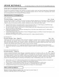 warehousing resume