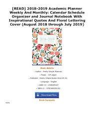 Monthly Calendar Schedule Read 2018 2019 Academic Planner Weekly And Monthly Calendar Schedule