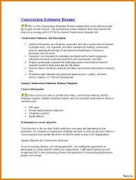 Construction Estimator Resume Sample Epub Descargar 6 Construction Estimator Resume