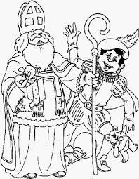 Kleurplaat Sinterklaas En Zwarte Piet Voorbeeld Schoen Zetten Sint