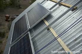 pv panels in mounting brackets roof