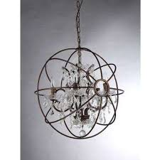 planetshaker spherical 6 light antique bronze chandelier with shade