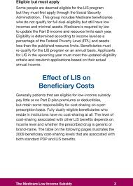 Medicare Low Income Subsidy Chart The Medicare Low Income Subsidy Lis Pdf