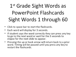 sight word 1st grade 1st grade sight words 1 through 60