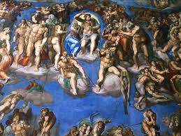 the huge magnified version of michelangelo s crowning depiction of the last judgment pops out at