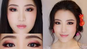 rose gold romantic makeup asian bridal makeup tutorial chocolate flower bridal makeup style
