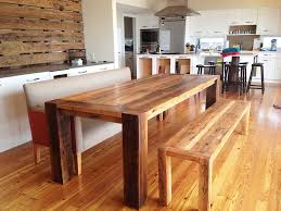 dining room wonderful reclaimed long wooden melamine table with bench set also wide gray upholstered couch the parquet floor various wood counter height
