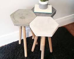 concrete side table. Concrete Hexagon Industrial Side Table -