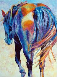 original horse rearview oil painting big 18x24 colorful and painted by knife