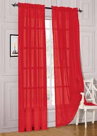Modern Living Room Design with Beautiful Red Sheer Curtains, Pure Polyester  Fabric Material, Pure