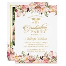 Nursing Graduation Party Invitations Watercolor Floral Nurse Graduate Photo Graduation Invitation