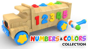 learn colors and numbers with wooden truck toy colours and numbers s collection for children you