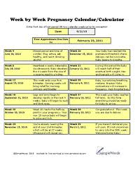 Pregnancy Calculation Calendar Pregnancy Calculator Excel Download