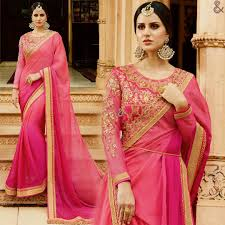 Full Sleeves Saree Designs Latest Fancy Pink Designer Full Sleeves Round Necked Saree