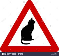 Segnale di avvertimento con simbolo di gatto Foto stock - Alamy