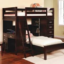 image of top wooden bunk beds with desk