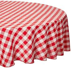 linentablecloth 90 inch round polyester tablecloth red white checker b008tlmuau