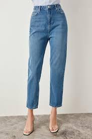 Trendyol Size Chart Trendyol Blue High Waist Mom 80s Jeans Casual Straight Led Denim For Ladies Tclss19lr0047