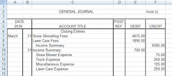 Income Summary Chart Of Accounts Project 3 Closing Entries