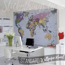 world map mural in an office