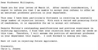 Best responses to a job rejection Outright refusal