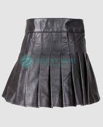more views men black casual leather utility kilt