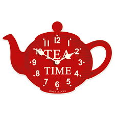 Red Kitchen Accessories Retro Kitchen Wall Clock Unique Teapot Clock Red Color Tea Time