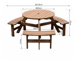 round picnic table outdoor garden furniture wooden pub bench 6 seater beer set