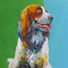dog painting palette knife painting dog portrait by enxu zhou