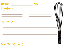Index Card Recipe Template Printable Recipe Cards For Kids Recipe Template For Kids